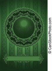 Dark Green Vintage Luxury High Ornate Background