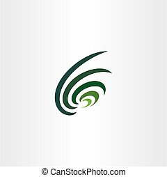 dark green wave logo abstract icon