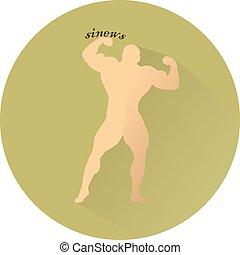 Dark greenish Flat style icon, male bodybuilder, on white background,