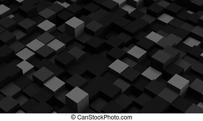 Dark grey 3D boxes. Loopable abstract background.