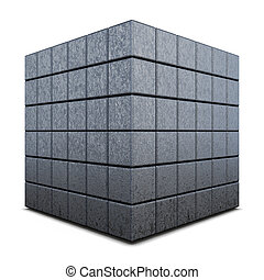 Dark grey 3D cube isolated on a white