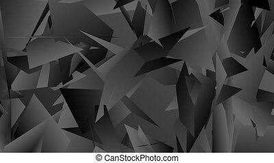 Dark grey abstract tech polygonal video animation - Dark...