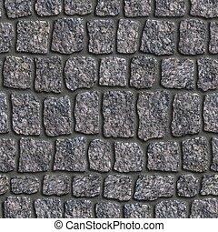 Dark Grey Granite Sett. Seamless Tileable Texture.