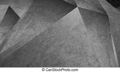 Dark grey grunge tech low poly abstract motion background. Video animation Ultra HD 4K 3840x2160
