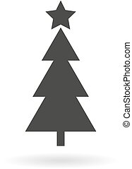 Dark grey icon for Christmas tree on white background with shadow