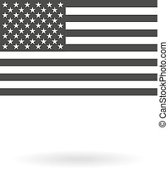 Isolated dark grey icon for greyscale USA flag (official proportions) on white background with shadow