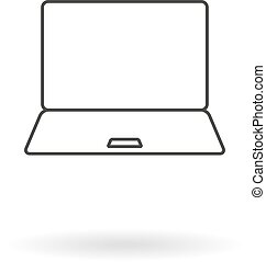 Dark grey icon for notebook (pc, laptop, computer) on white background with shadow