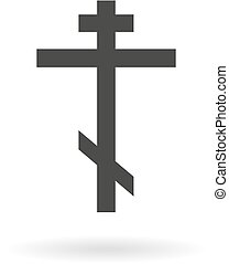 Dark grey icon for orthodox cross on white background with...