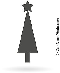 Dark grey icon for simple Christmas tree  on white background with shadow