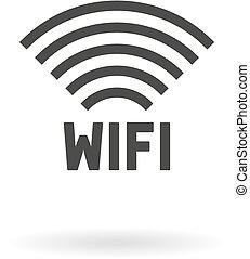 Dark grey icon for wi-fi (wifi) on white background with shadow