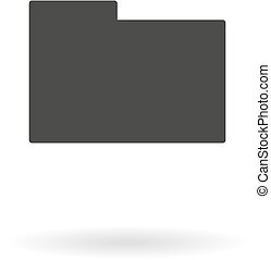 Dark grey icon of on white background with shadow
