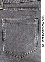 Dark grey jeans pocket