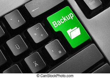 grey keyboard green button digital backup folder