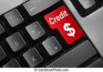 keyboard red button credit dollar symbol
