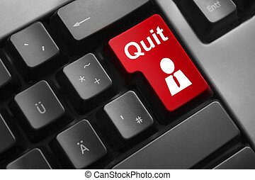 dark grey keyboard red button quit job employee