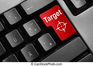 grey keyboard red enter button target crosshair