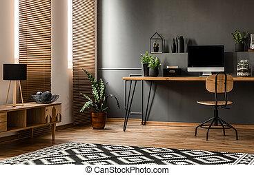 Dark grey workspace interior