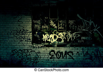 Dark Grungy Alley With Graffiti Background