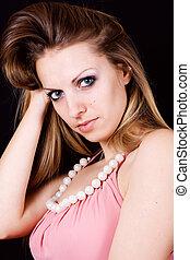 Dark hair. - Beautiful young woman with long healthy dark...
