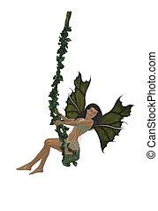 Dark Hair  Fairy - Dark hair  fairy swinging on a swing