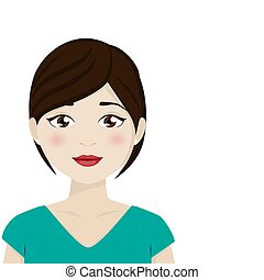 Dark hair woman with green shirt on a white background....