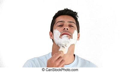 Dark-haird man before to shave