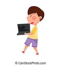 Dark Haired Boy Character Carrying Broken Laptop for Recycling Vector Illustration