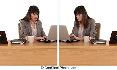 Dark-haired business women working