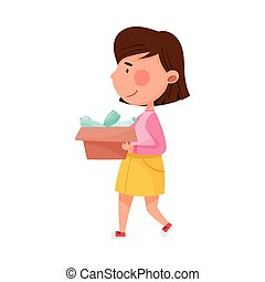 Dark Haired Girl Character Carrying Plastic Bottles for Recycling Vector Illustration