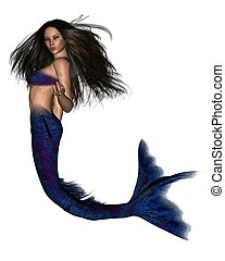 Dark Haired Mermaid - 2