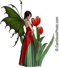 Dark Haired Red Tulip Fairy