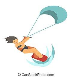 Dark-haired woman practices kiteboarding flat design on...