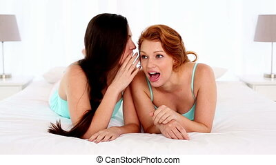Dark haired woman talking to her friend lying on bed in...