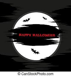 Dark halloween background with moon on a dark sky, inscription and bats, illustration.
