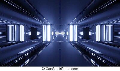 Metallic Mirrored in Motion Tunnel 4k uhd 3d rendering vj loop