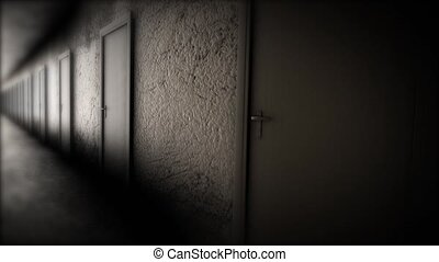 Dark hallway with doors. The terrible corridor.