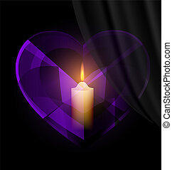 dark heart-crystal and candle - dark background and dark...