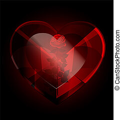 dark heart-crystal and rose - big dark red heart-crystal ...