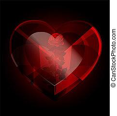 dark heart-crystal and rose - big dark red heart-crystal ...