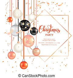 Dark holiday template-05 - Luxury decoration with balls...