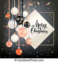 Dark holiday template - Luxury decoration with balls winter...
