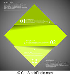 Dark illustration inforgraphic with rhombus divided to three parts