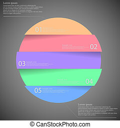Dark illustration inforgraphic with ring divided to five parts