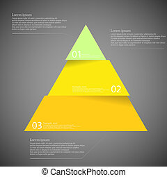 Dark illustration inforgraphic with triangle divided to three parts