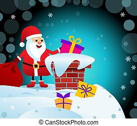 Dark Illustration Merry Christmas. Santa Claus on the roof with a bag of gifts