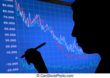 dark image of a stock analyst - Silhouette of a stock...