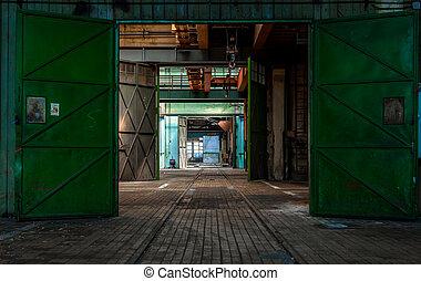 Dark industrial interior of a building