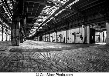 Dark industrial interior