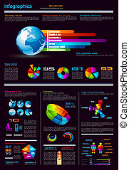 Infographics page with a lot of design elements - Dark ...