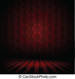 Dark interior background - Illustration of a dark interior...